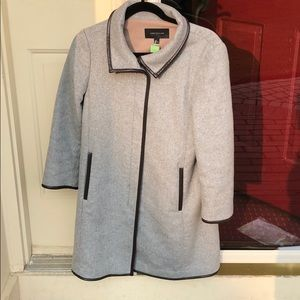 Ann Taylor Coat Grey with Pleather accents
